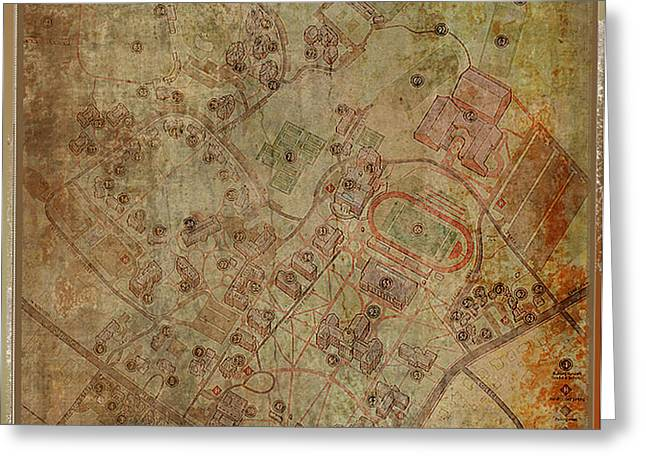 Davidson College Map Greeting Card by Paulette B Wright