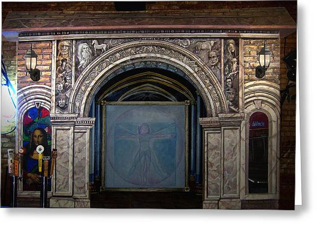 Lead Reliefs Greeting Cards - Davinci Pub architectural mural Greeting Card by Dan Terry