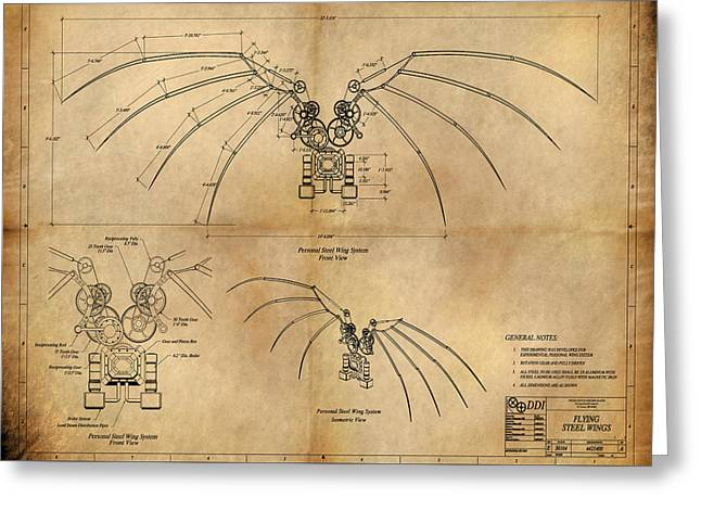 DaVinci's Wings Greeting Card by James Christopher Hill