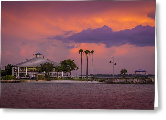 Raining Down Greeting Cards - Davis Island Yacht Club Greeting Card by Marvin Spates