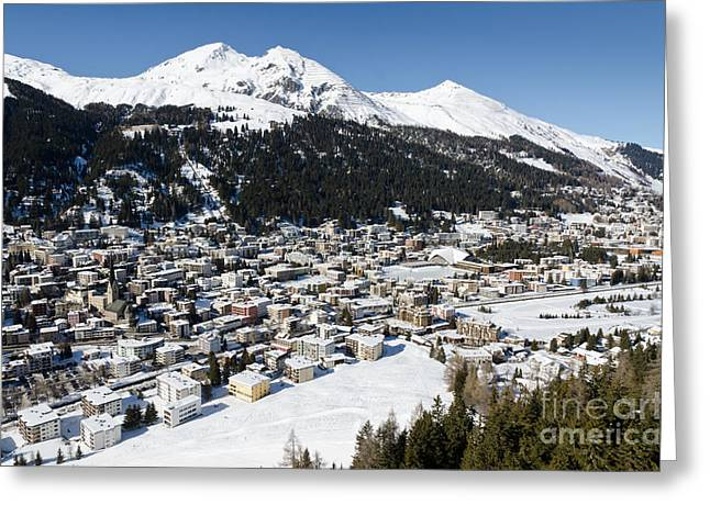 Swiss Photographs Greeting Cards - DAVOS PLATZ mountains parsenn and town Greeting Card by Andy Smy