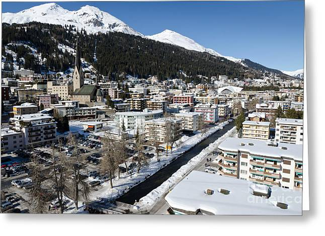 Alps Greeting Cards - DAVOS RIVER town switzerland Greeting Card by Andy Smy