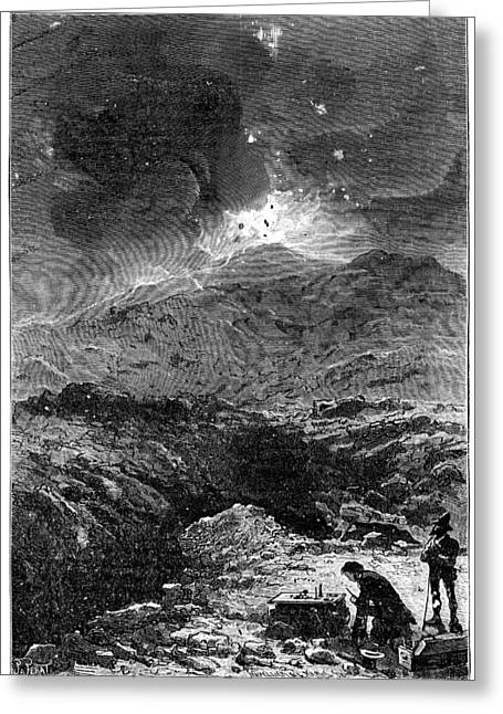 La Science Illustree Greeting Cards - Davy experimenting at Vesuvius, 1819 Greeting Card by Science Photo Library
