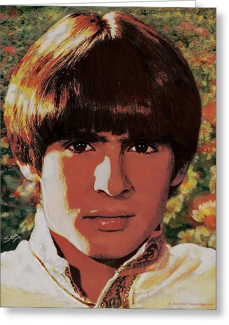 Entertainer Drawings Greeting Cards - Davy Jones Greeting Card by Suzanne Gee