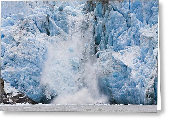 Cold Day Greeting Cards - Dawes Glacier Calves Into The Endicott Greeting Card by Ray Bulson