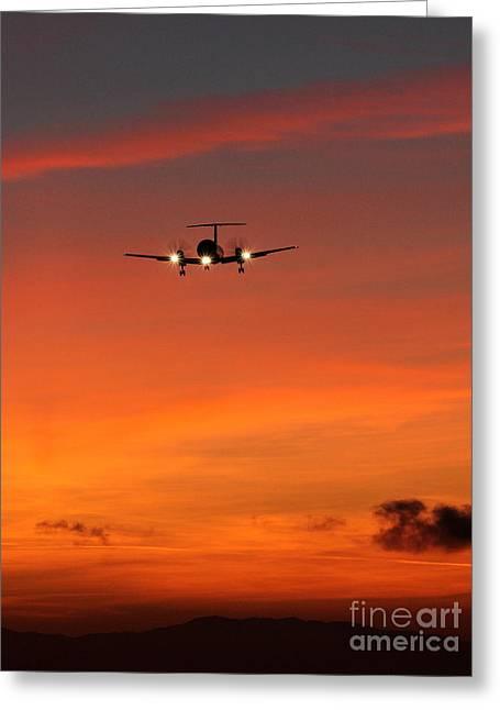 Commuter Plane Greeting Cards - Dawn Greeting Card by Alex Esguerra