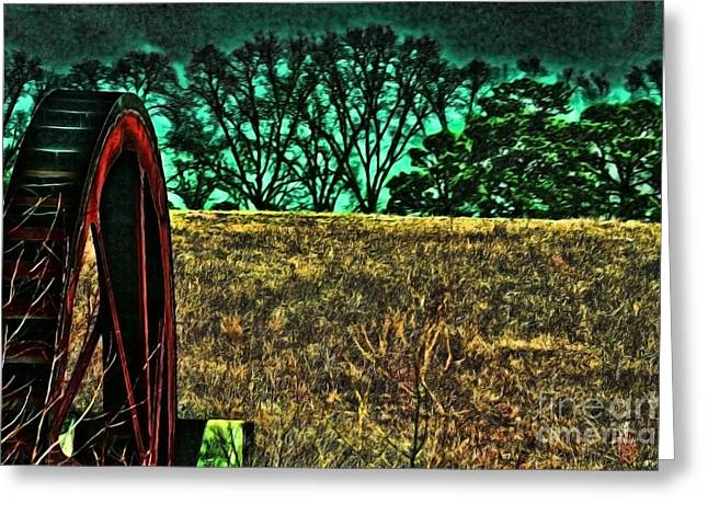 Dawn And The Waterwheel Green Greeting Card by Lesa Fine