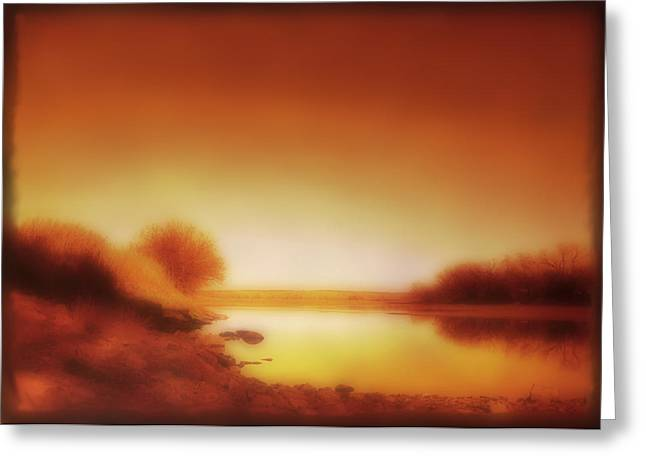 Manipulated Photography Greeting Cards - Dawn Arkansas River Greeting Card by Ann Powell