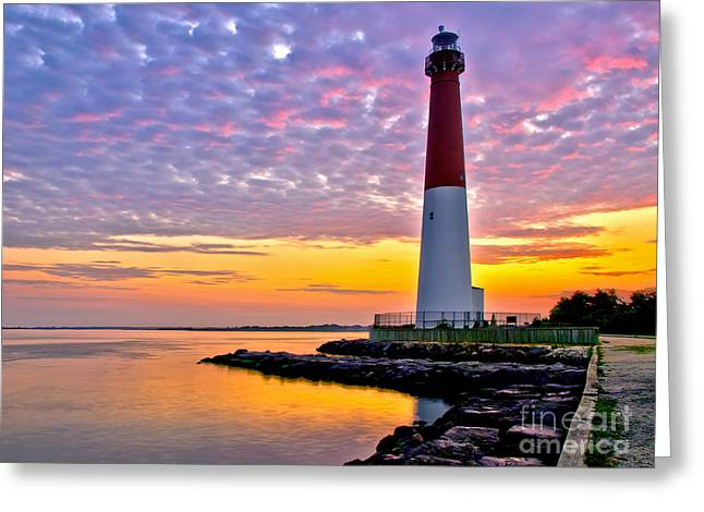 Ocean Shore Greeting Cards - Dawn at Barnegat Lighthouse Greeting Card by Mark Miller