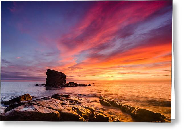 Water Worn Sandstone Greeting Cards - Dawn at Collywell Bay Greeting Card by David Head
