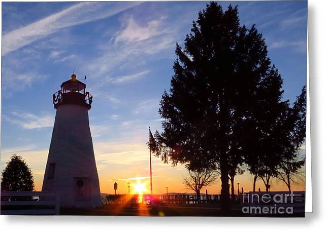 Concord Point Greeting Cards - Dawn at Concord Point lighthouse Greeting Card by Rrrose Pix
