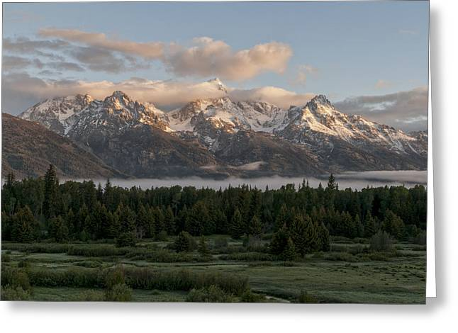 Clouds Posters Greeting Cards - Dawn At Grand Teton National Park Greeting Card by Brian Harig