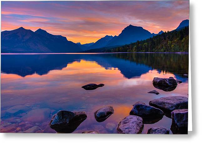 Hdr Landscape Photographs Greeting Cards - Dawn at Lake McDonald Greeting Card by Adam Mateo Fierro