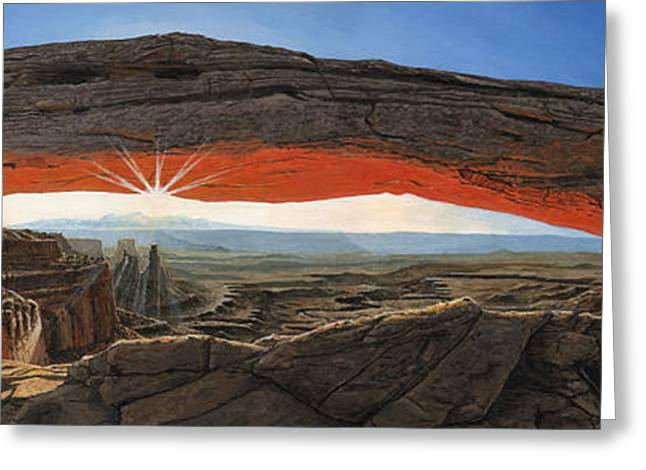 Mesa Greeting Cards - Dawn at Mesa Arch Canyonlands Utah Greeting Card by Richard Harpum