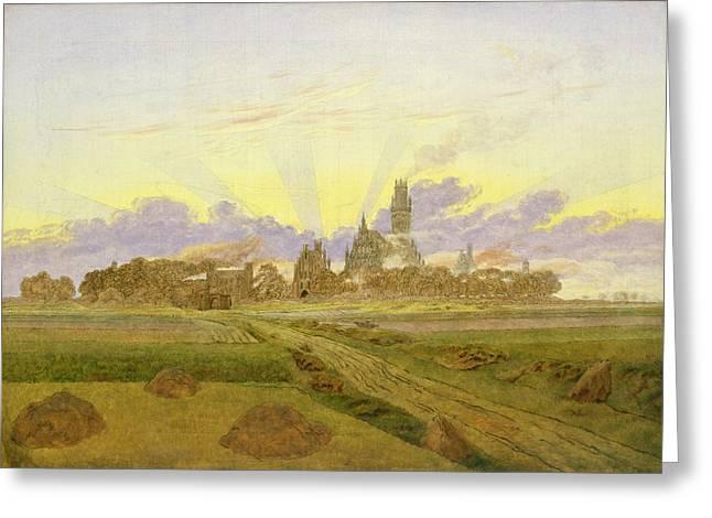 Sun Rays Paintings Greeting Cards - Dawn at Neubrandenburg Greeting Card by Caspar David Friedrich