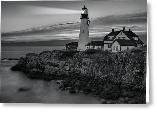 Portland Harbor Greeting Cards - Dawn At Portland Head Light BW Greeting Card by Susan Candelario