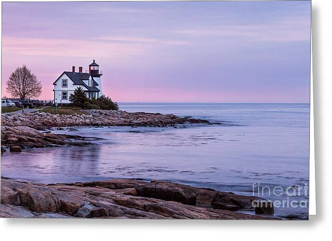 Prospect Place Greeting Cards - Dawn at Prospect Harbor Light Greeting Card by Susan Cole Kelly