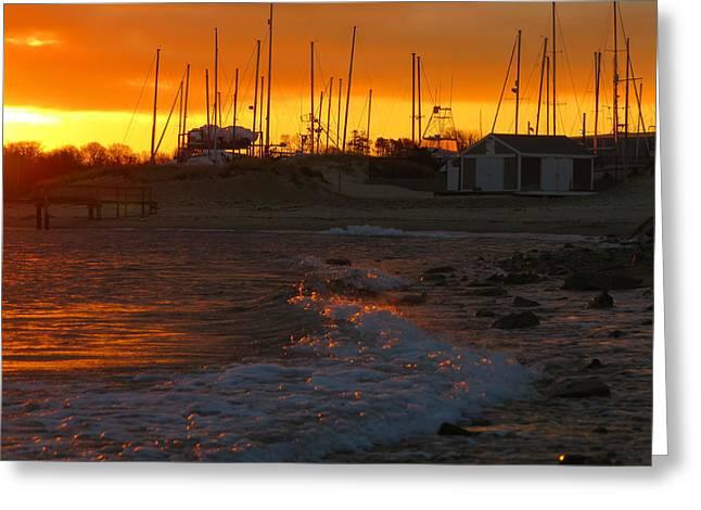 Harbor Sesuit Harbor Greeting Cards - Dawn at Sesuit Harbor Greeting Card by Dianne Cowen