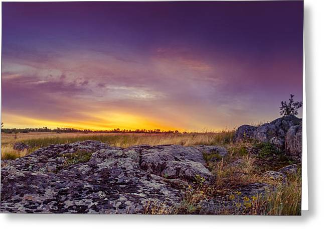Field. Cloud Greeting Cards - Dawn at steppe Greeting Card by Dmytro Korol