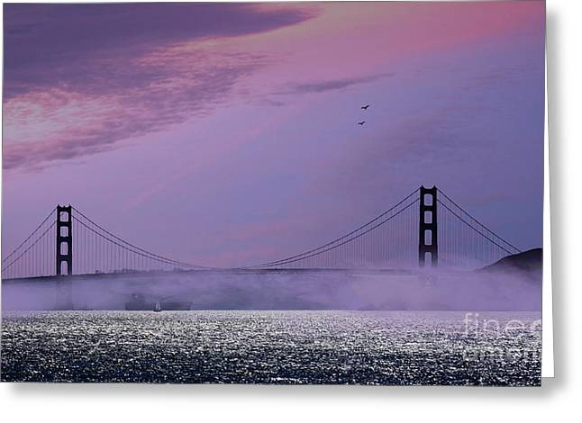 Famous Bridge Greeting Cards - Dawn at the Golden Gate Greeting Card by Cheryl Young
