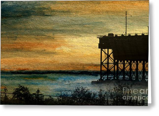 Great Mysteries Mixed Media Greeting Cards - Dawn at the Iron Ore Dock Greeting Card by R Kyllo