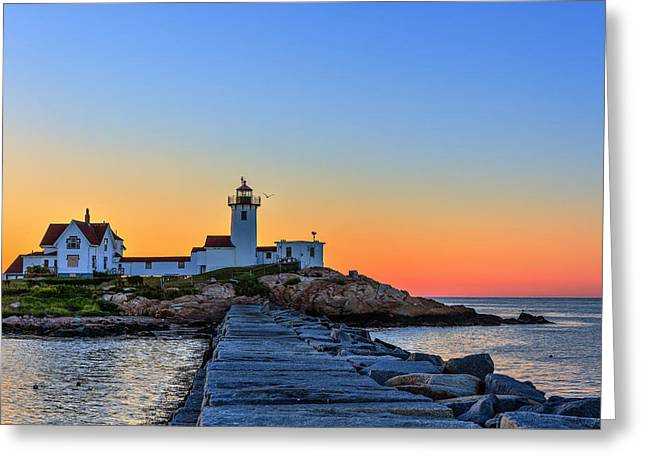 New England Lighthouse Greeting Cards - Dawn at the lighthouse Greeting Card by Paul Tomlin