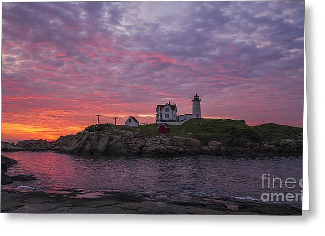 Cape Neddick Lighthouse Greeting Cards - Dawn at the Nubble Greeting Card by Steven Ralser
