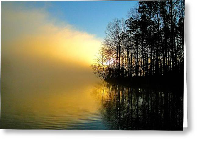 Cane Creek Greeting Cards - Dawn at Waters Edge Greeting Card by Cindy Croal