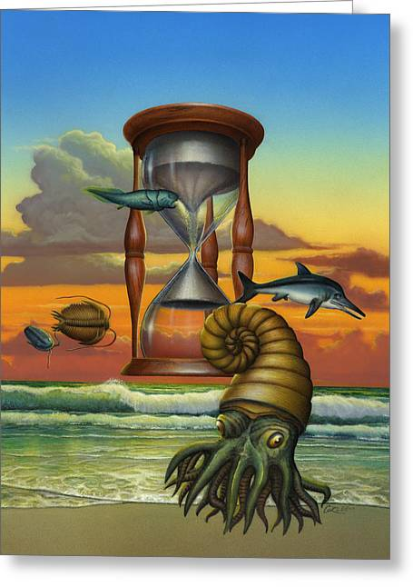 Blank Greeting Cards Greeting Cards - Dawn - Beginning Of Time - Hourglass - Sea Creature Creatures - Beach Surf - Art - Walt Curlee Greeting Card by Walt Curlee