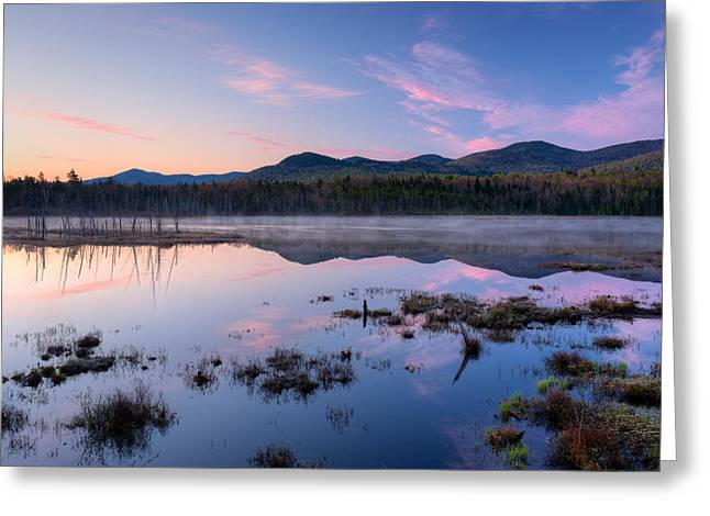 """adirondack Park"" Greeting Cards - Dawn Breaking Over Shaw Pond Greeting Card by Panoramic Images"