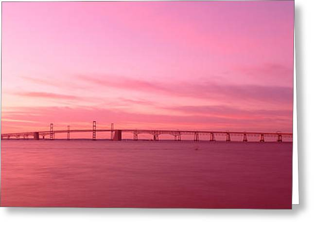 Bay Bridge Photographs Greeting Cards - Dawn, Chesapeake Bay Bridge, Maryland Greeting Card by Panoramic Images