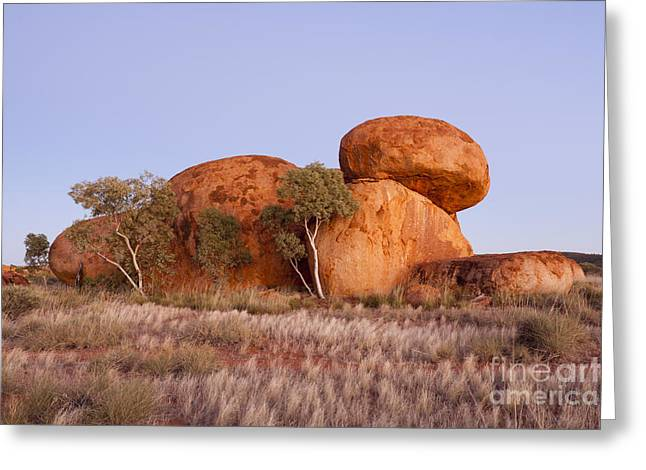 Australia Photographs Greeting Cards - Dawn Devils Marbles Northern Territory Greeting Card by Colin and Linda McKie