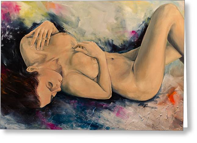 Nude Fantasy Greeting Cards - Dawn Greeting Card by Dorina  Costras