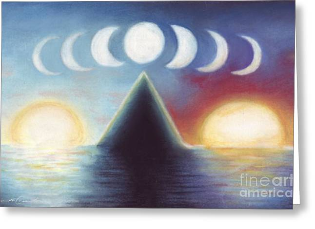 Sea Moon Full Moon Pastels Greeting Cards - Dawn Dusk and In-Between Greeting Card by Samantha Geernaert