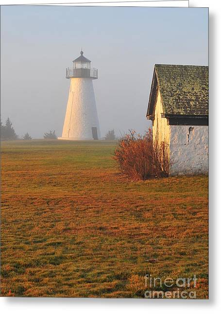 Historical Lighthouse Greeting Cards - Dawn Fog Greeting Card by Catherine Reusch  Daley