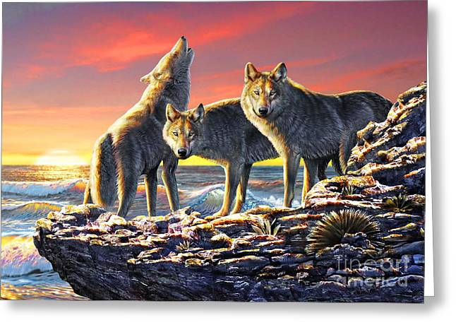Howling Greeting Cards - Dawn Hunt Greeting Card by Adrian Chesterman