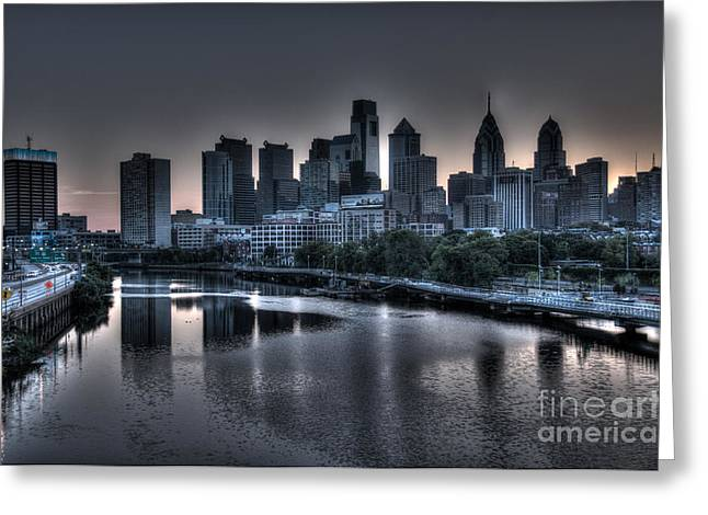 Williams Dam Greeting Cards - Dawn in Philly Greeting Card by Mark Ayzenberg
