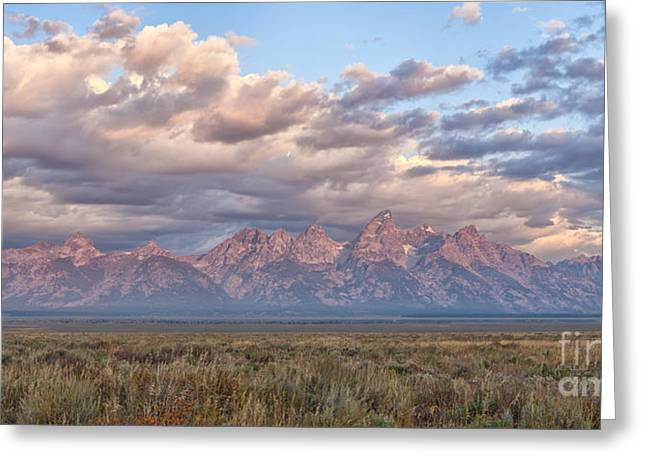 Panoramics Greeting Cards - Dawn in the Grand Tetons Greeting Card by Sandra Bronstein