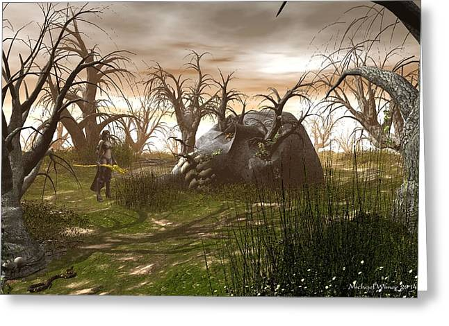 Scull Prints Greeting Cards - Dawn in the Land of Giants Greeting Card by Michael Wimer