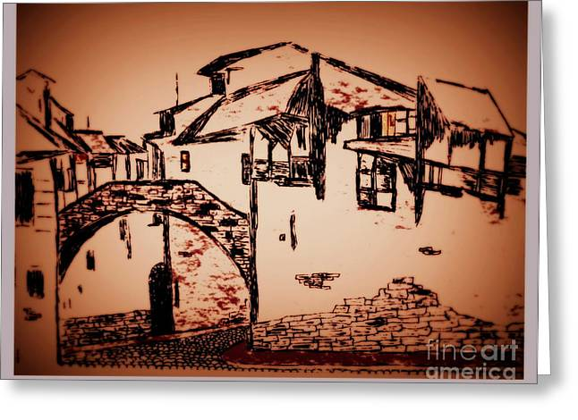 Stone House Drawings Greeting Cards - Dawn in Tuscany Greeting Card by Bill OConnor