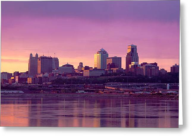 Overcast Day Greeting Cards - Dawn Kansas City Mo Greeting Card by Panoramic Images