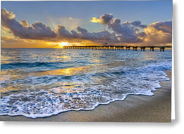 Hobe Sound Greeting Cards - Dawn Lace Greeting Card by Debra and Dave Vanderlaan