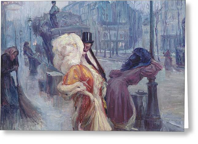 A Kiss Greeting Cards - Dawn Leaving the Restaurant in Montmartre Greeting Card by Georges Redon