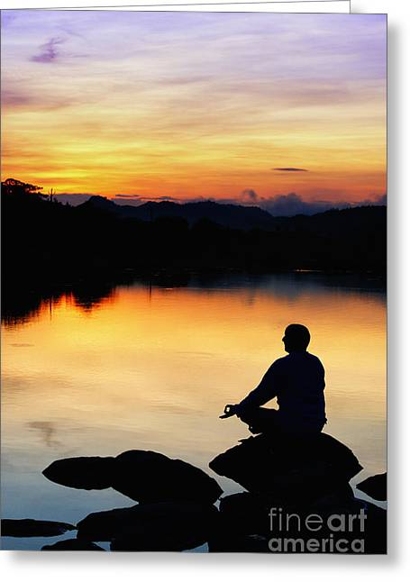 Aware Greeting Cards - Dawn Meditation Greeting Card by Tim Gainey
