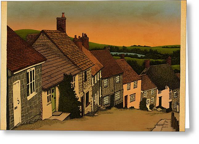 Village Street Greeting Cards - Dawn Greeting Card by Meg Shearer