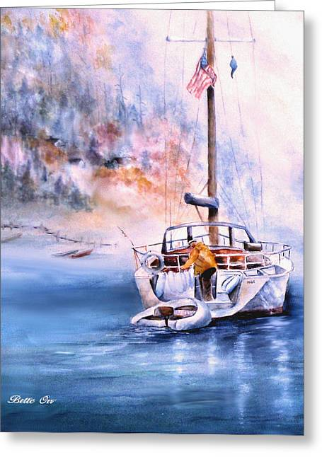 Foggy Ocean Greeting Cards - Dawn Mooring II Greeting Card by Bette Orr