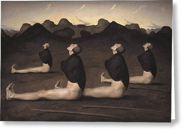 Old Masters Greeting Cards - Dawn Greeting Card by Odd Nerdrum