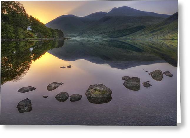 Calm Water Reflection Greeting Cards - Dawn Of A New Day Greeting Card by Evelina Kremsdorf