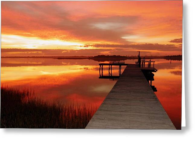 Calm Water Reflection Greeting Cards - DAWN of NEW YEAR Greeting Card by Karen Wiles