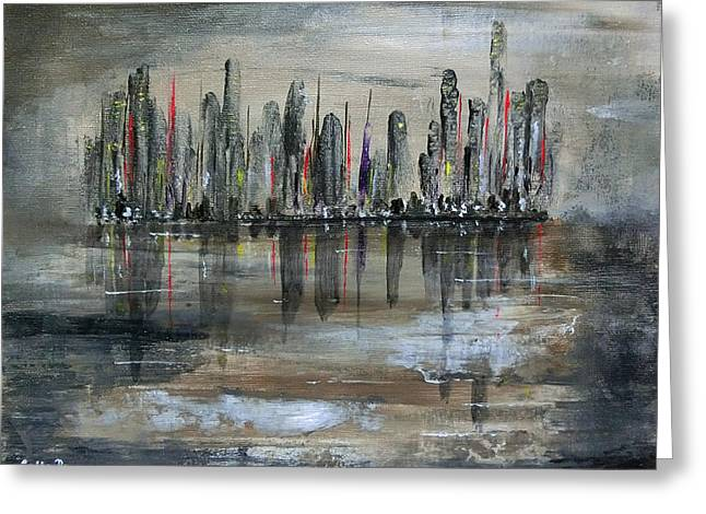 Imaginary City Greeting Cards - Dawn On Flooded World Greeting Card by Callan Percy